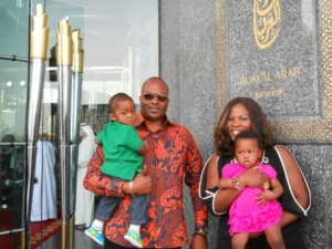 Emeka Ossai and his twins