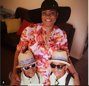 Opeyemi Aiyeola and her twins