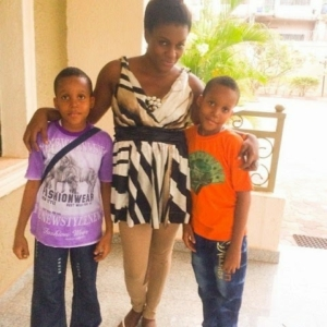 Queen Nwokoye and her twins