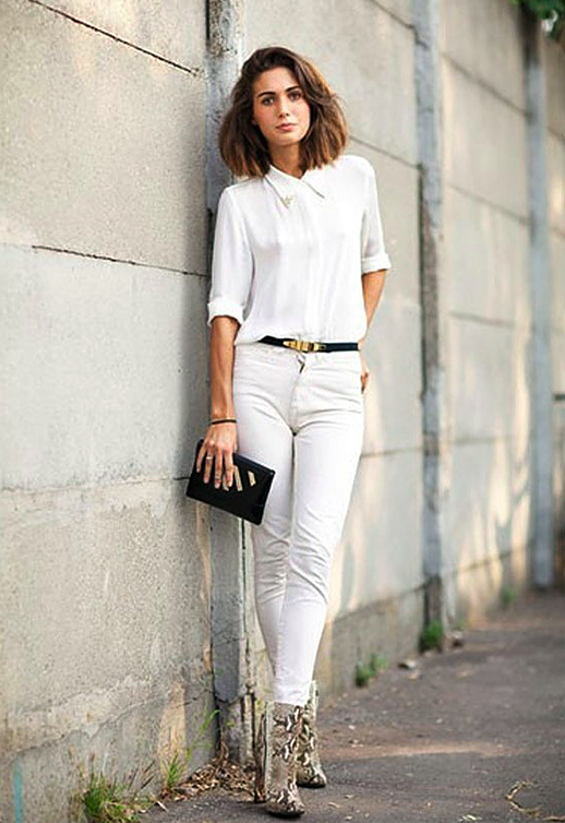 A cotton button-down shirt or top