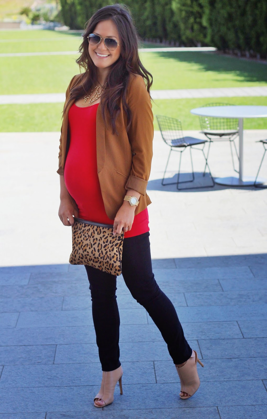 Style your baby bump in a structured jacket or blazer