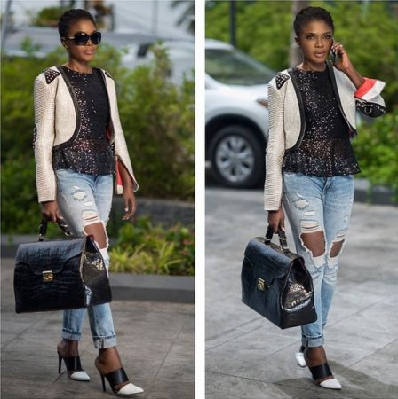 Take a cue from Omoni Oboli's strutured balck bag