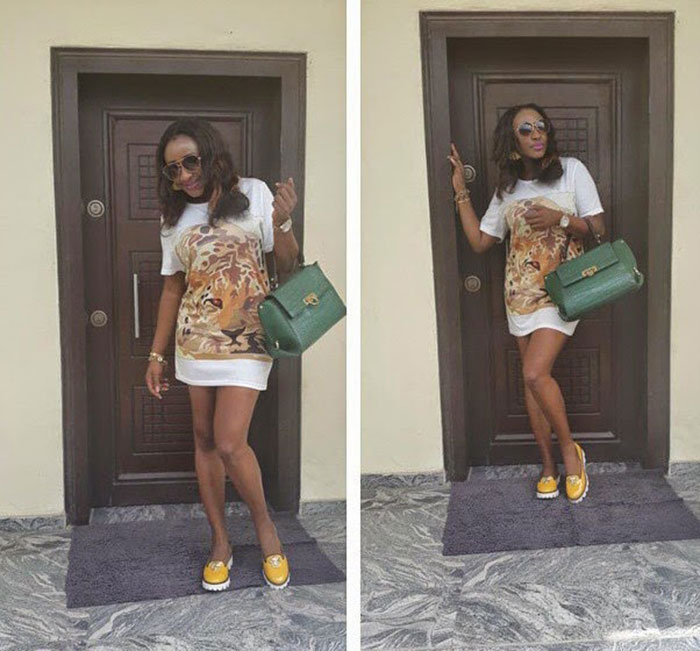 ini edo in a shirt dress