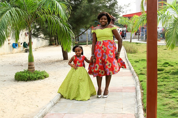 Anuoluwapo Onafade and her mother on the runway.