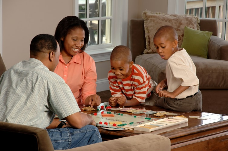 African american family playing games